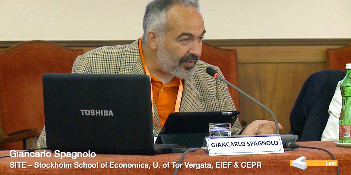 Giancarlo Spagnolo (SITE – Stockholm School of Economics, University of Tor Vergata, EIEF & CEPR)